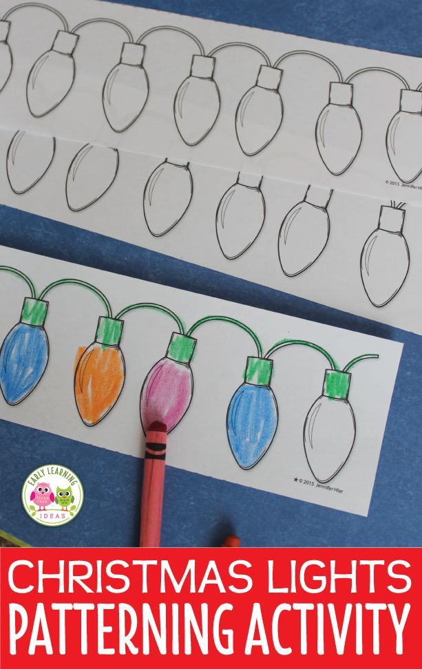 Christmas activities for preschool, pre-k and kindergarten. Christmas light patterns. Kids can work to finish a variety of patterns or create their own Christmas light patterns. Use on a magnet board, with velcro, or create a file folder game. A fun holiday math activity for kids. Perfect for math centers, math stations, or math tubs in early childhood education and special education classrooms. hand-on Christmas math for kids. Plus, kids can color their own patterns with the b&w printable.