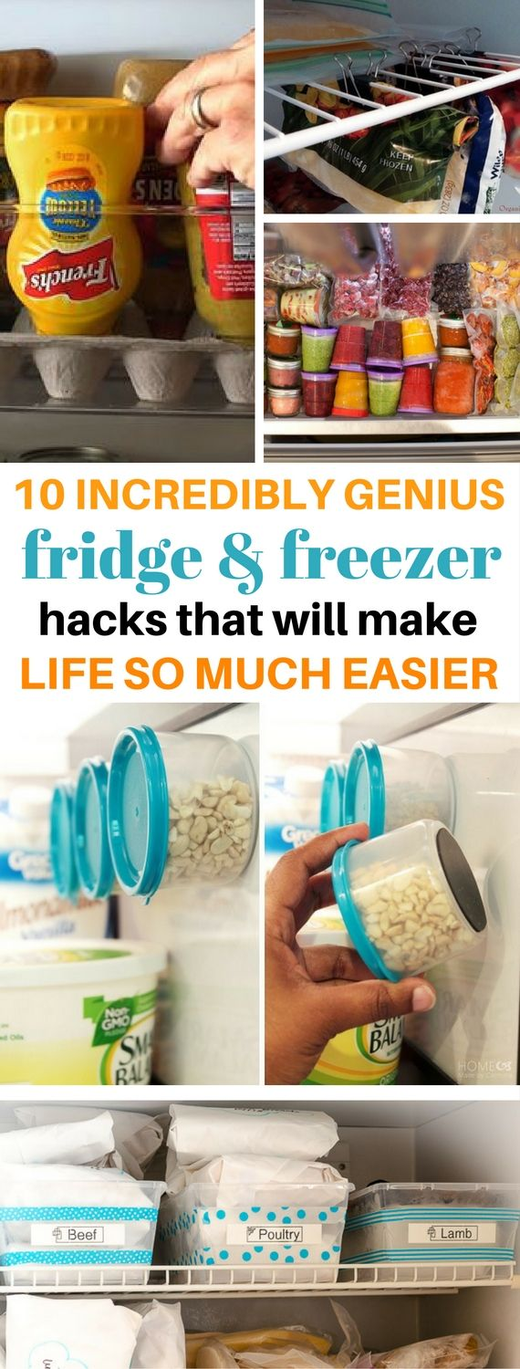 10 Fridge And Freezer Organization Tips That Will Make Life Easier - I wish I knew about these before! Includes the BEST hacks and tips that shows you great ways to organize a fridge and freezer. DIY Kitchen Tips