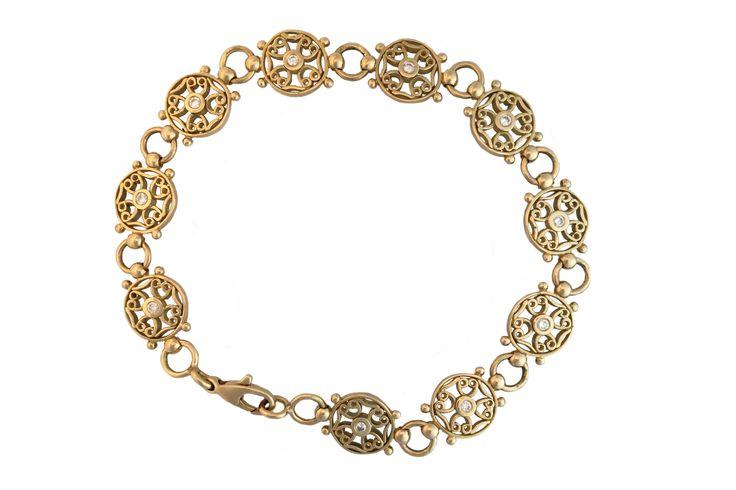 Bracelet templier en or jaune et diamants de Luc Taillandier. Collection antique  http://www.luc-t.com