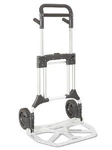"""Folding Hand Truck - 275 lb. Load Capacity by ULINE. $159.00. Folding Hand Trucks - Incredible. Lightweight aluminum truck weighs only 26 lbs. Compact folded size fits into cars, vans, even under desks. 23 x 13"""" nose plate. 50"""" high. Uline stocks a huge selection of Collapsible Hand Truck, Fold Up Hand Truck and Fol"""