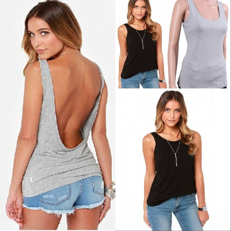 Sexy Damen Rückenfrei Sommer Top Shirt /T-Shirt/ Weste/Vest Party Oberteil 34-42