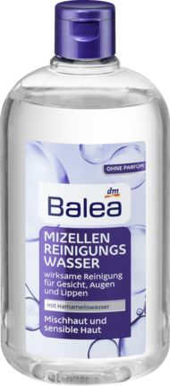 Das Balea Mizellen-Reinigungswasser für Mischhaut und sensible Haut vereint drei Produkte in nur einem Schritt: Reinigung, Make-Up-Entferner und Gesichtswa...