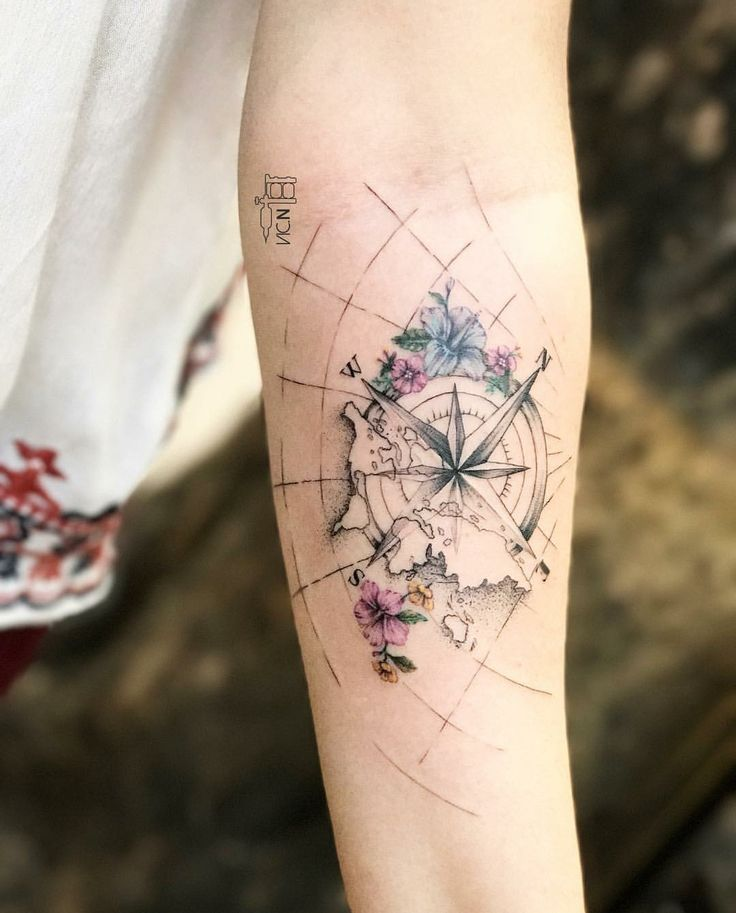 Compass rose and world
