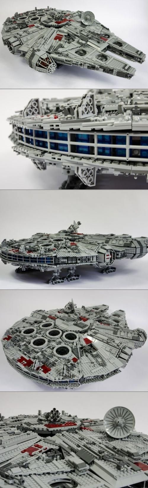 "Did you know that when this Star Wars UCS Millennium Falcon was created (2007), it was the largest set ever produced by LEGO? It measures 33"" long by 22"" wide and 8.3"" tall. With 5000 pieces and a 311 page instruction book, you have your work cut out for you!"