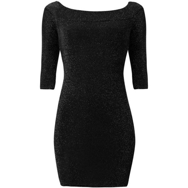 Black Sparkle Bardot Neck 3/4 Sleeve Bodycon Dress ($20) ❤ liked on Polyvore featuring dresses, black pattern, bodycon dress, sparkly bodycon dress, bodycon mini dress, three quarter sleeve dress and little black dress