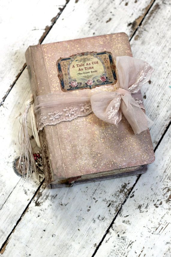 Blush pink victorian romantic feminine Tulle lace Photo Album OR  Fairytale Wedding Guest Book and Scrapbook album