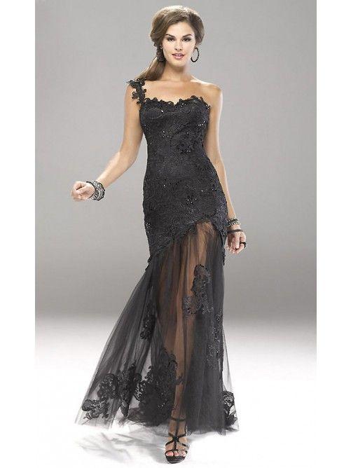 Meerjungfrau-Linie One-Shoulder-Träger Pinsel zug Spitze Tüll Abendkleid
