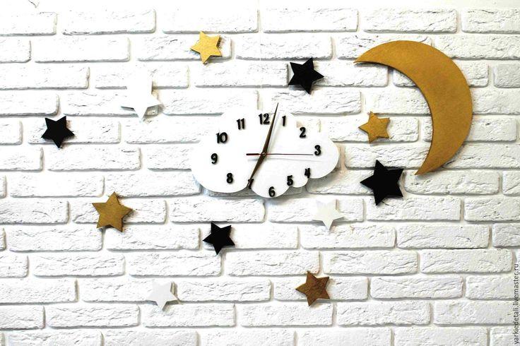 Купить Звёздный декор - белый, золотой, шоколад, часы, облака, звезды, звездочки, декор детской