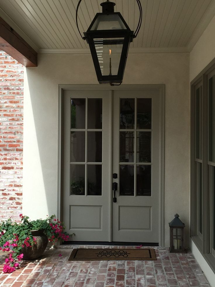 Beadboard ceiling framed with old beam features hanging gas lantern   Farmhouse  style front porchTop 25  best Double front entry doors ideas on Pinterest   Wood  . Exterior Doors Farmhouse Style. Home Design Ideas