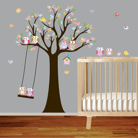 Vinyl Wall Decal Stickers Owl Tree with Swing by wallartdesign, $175.00