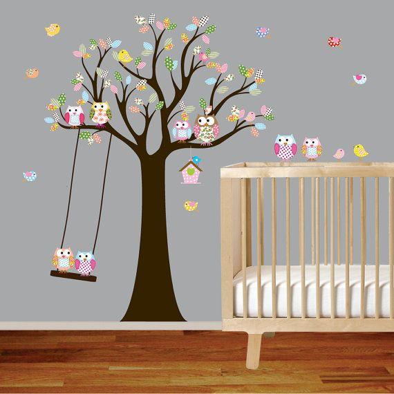 Vinyl Wall Decal Stickers Owl Tree with Swing Birds Nursery Girls Baby via Etsy