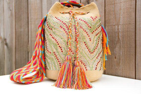 Desierto Wayuu Mochila Bag with Crystals on Etsy, $235.00