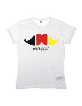 T-Shirt/Oberteil passend zur Fußball Europameisterschaft mit Schnurrbart/Moustache in schwarz rot gelb als Aufdruck