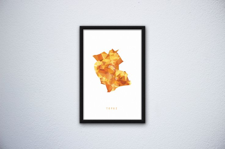 Mineral poster Topaz by SliwkaGraphics on Etsy