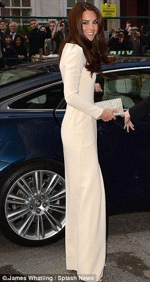 stylish Catherine, Duchess of Cambridge in cream Roland Mouret gown.