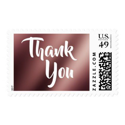 """Modern """"Thank You"""" w/ Faux Rose Gold Foil Ombre Postage - wedding thank you gifts cards stamps postcards marriage thankyou"""