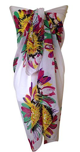Ladies Beach Sarong Dress Wrap Swimwear Beach Cover Up Scarf Sun Dresses-  Various Limited Edition Colours (Abstract Flower A)