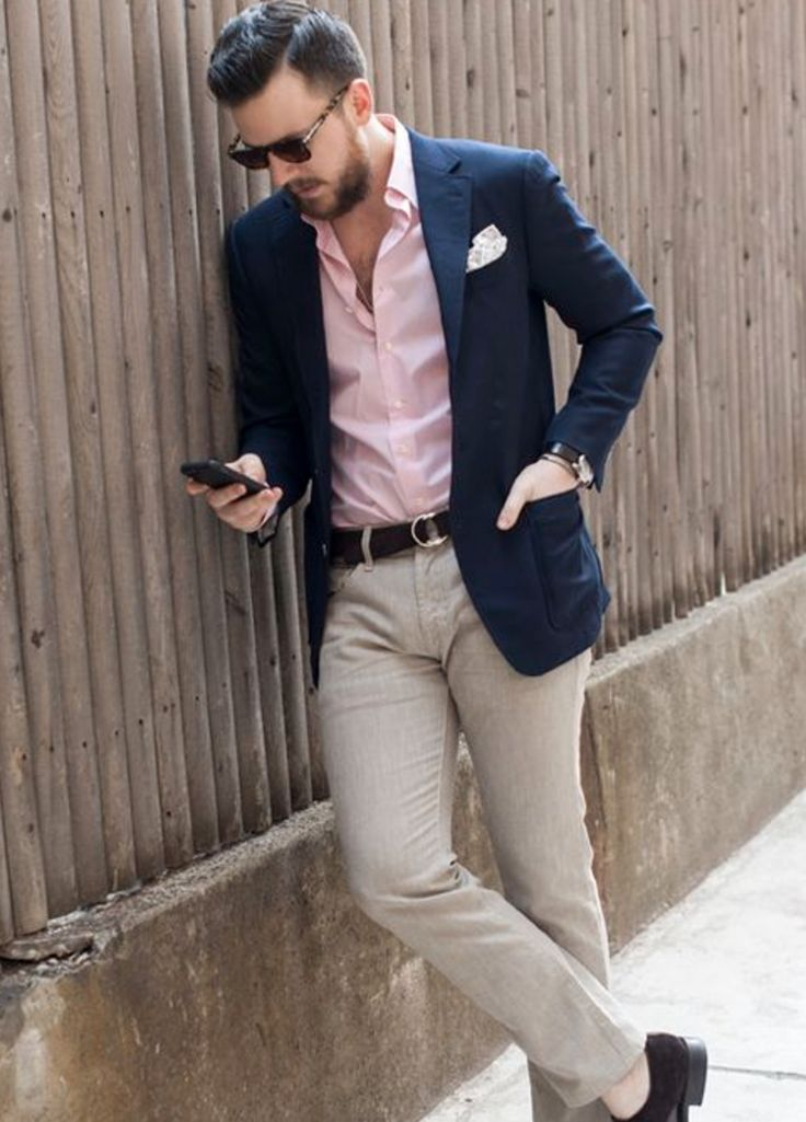 Who says your groom has to wear a tie? If you're looking for a casual wedding suit for the big day, then this look will be perfect. Love the pink shirt too. Image: Pinterest