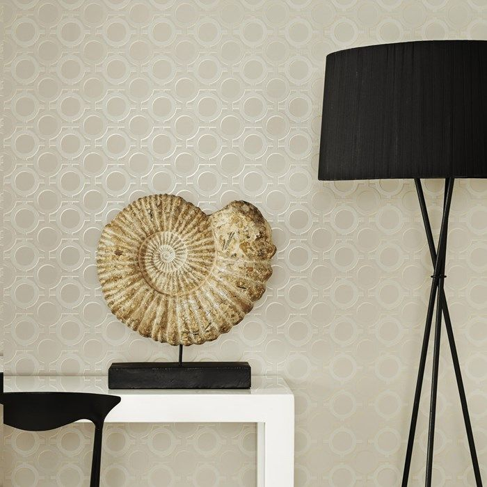 Enigma Cream Wallpaper by Kelly Hoppen - Designer Geometric Wall Coverings by Graham  Brown  closet