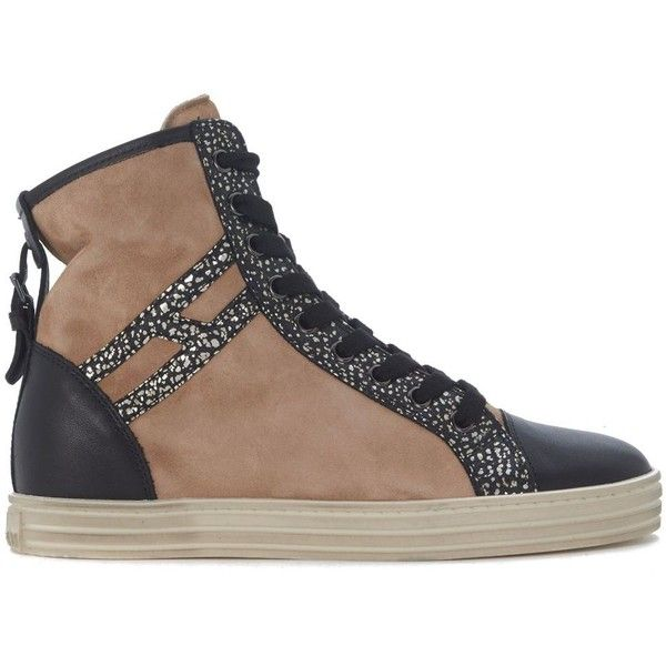 Sneaker Hogan Rebel R182 In Camoscio Marrone Cammello (€220) ❤ liked on Polyvore featuring shoes, sneakers, marrone, hogan rebel, hogan rebel sneakers and hogan rebel shoes