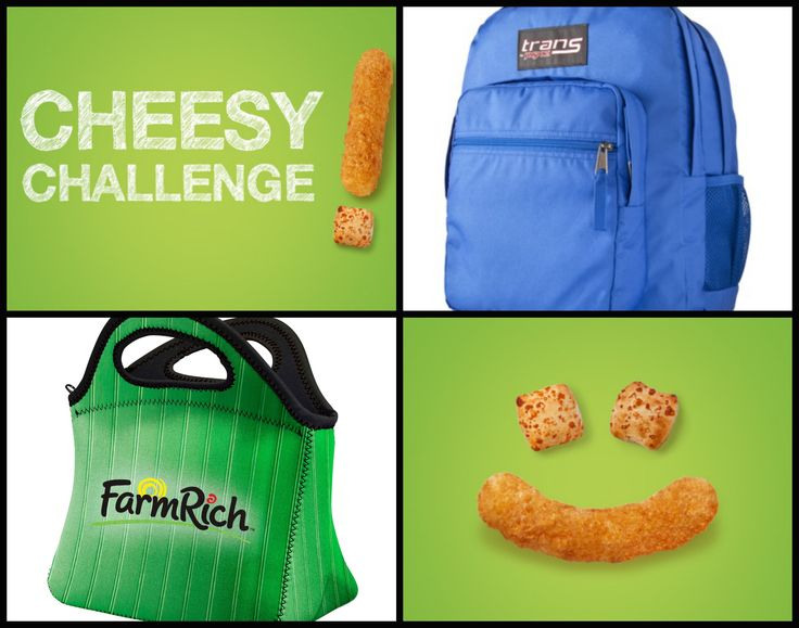 Enter our Cheesy Challenge for a chance to win one of the weekly prize packs including this backpack, lunch tote and a Shutterfly gift card! And one lucky grand prize winner will receive a Farm Rich snack party! https://www.facebook.com/FarmRichSnacks/app_1376373965916673