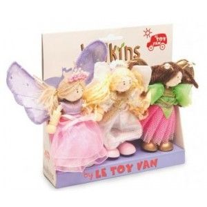 The Budkin Fairy Triple Pack from Le Toy Van   Set includes: Fleur The Butterfly Fairy, Sky Angel Fairy and Summer Fairy, and is great to have with any of the Le Toy Van playsets but can also be used on their own.  The wooden dolls have moveable arms and legs and feature great hand finished pretty outfits and details.  The Fairy Triple Pack will charm any little girl and boy for hours!  #alltotstreasures #letoyvan #budkins #fairy #fairies #dolls #dollshousedolls #budkinsfairies