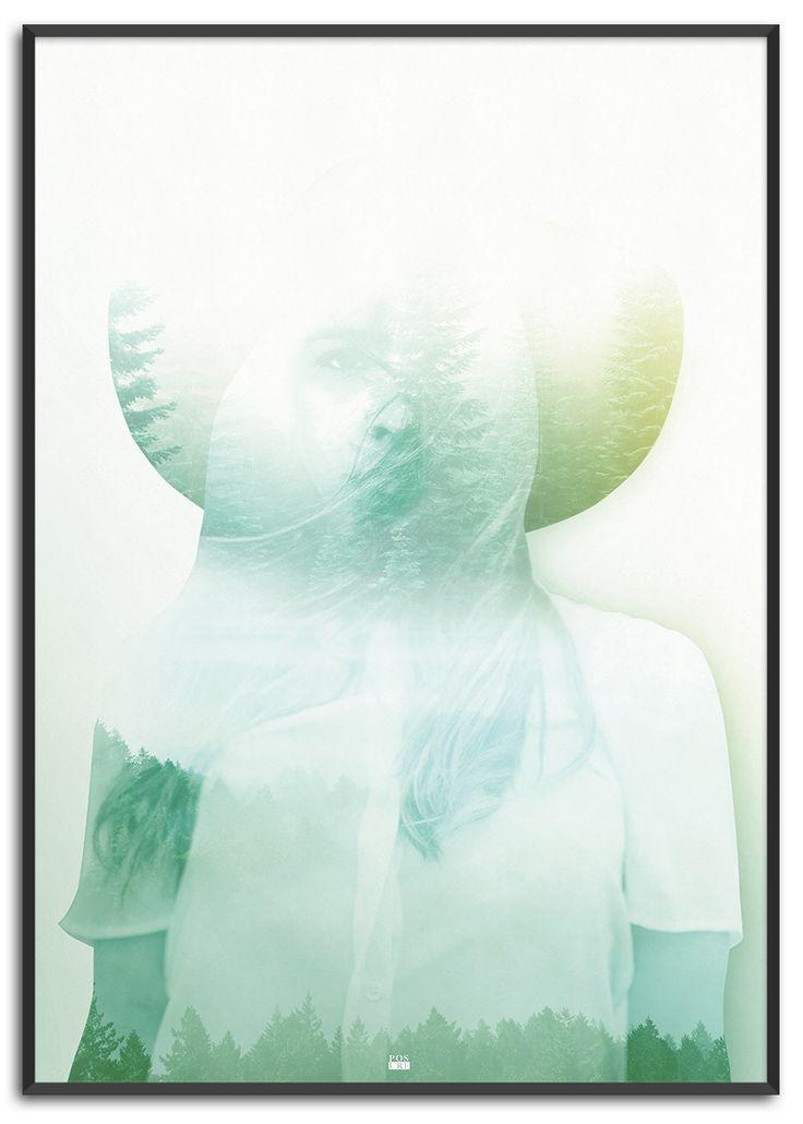 Forest child  | Køb nu på www.posure.dk | Priser fra 179,-  Plakat med pastelfarver og double exposure natur i kvinde krop af Posure