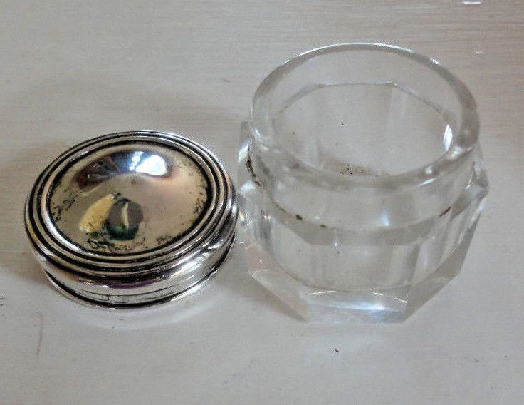 Sterling Silver Top Octagonal  Dresser Jar Vintage Glass Jar with SS Lid