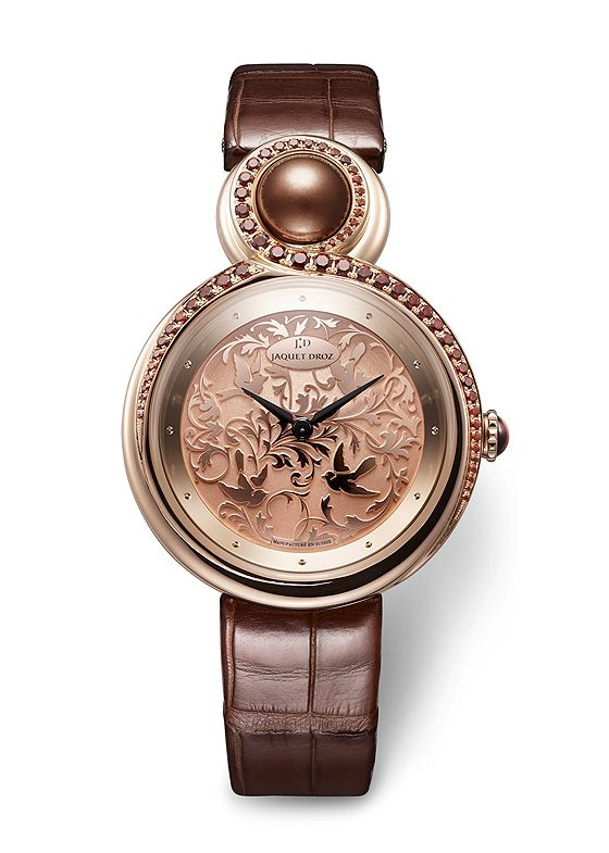 Jaquet Droz Lady 8 with rose-gold case, set with brown garnets, with brown pearl and brown garnet cabochon
