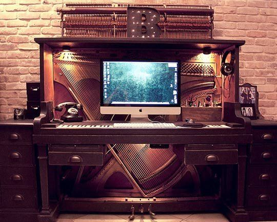 Piano Meets Keyboard: An Old Piano Transformed Into a Desk — Backstage Design Studio