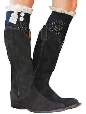Ladies Fashion Original Button Boot Socks with Lace Trim BLACK Free Shipping