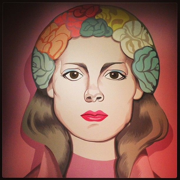 Jeanne Detallante's art on the wall at the #Prada show #MFW (à via fogazzaro)