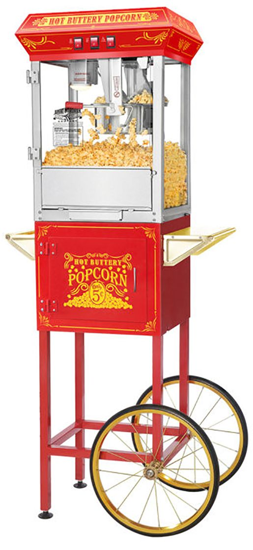 These Great Northern Popcorn top quality machines feature stainless steel food-zones, easy cleaning stainless steel kettles, an innovated  warming deck, old-maid drawers (for unpopped kernels), tempered safety glass panels and an industry leading 8 ounce kettle. The antique style design evokes memories of early days at the ballgames, carnivals, or the movie theater.