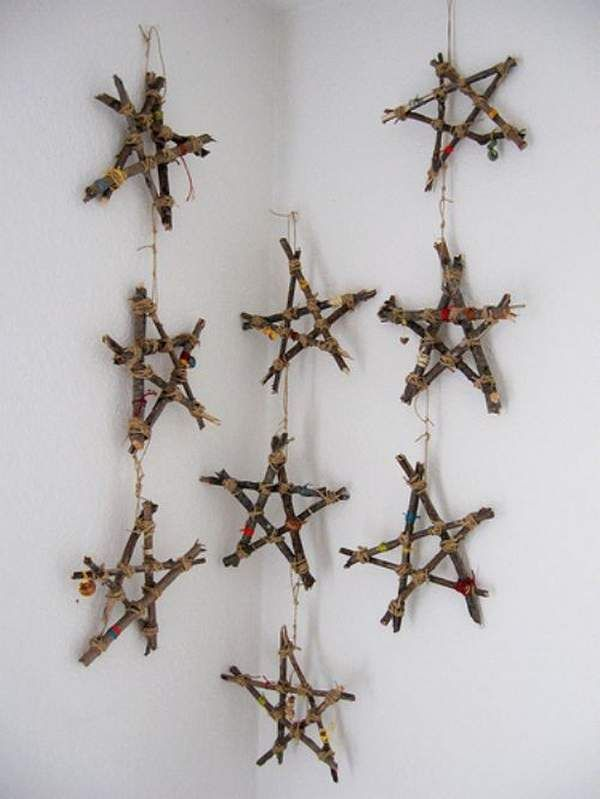 Christmas Ornaments: I love these rustic stars made out of sticks. Can't get much cheaper and it looks so natural.