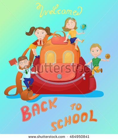 Cute kids playing on backpack. Back to school concept, banner, poster. Vector illustration