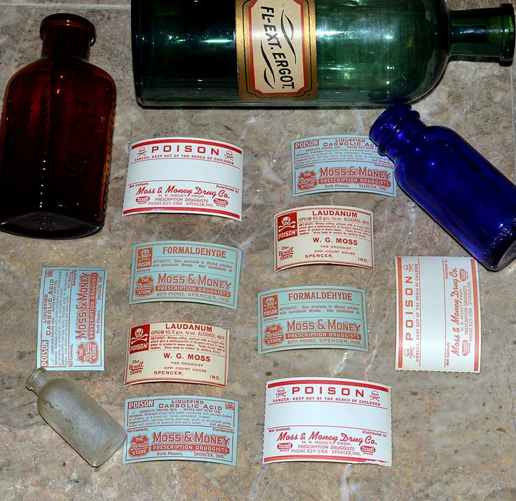 """10 antique Poison labels from drugstores in Spencer, Indiana. Original paper labels for Laudanum ( a potent opium-based narcotic), formaldehyde (often used as an embalming agent), and liquefied carbolic acid. A few of the ones included are generic Poison labels with a spot for describing the contents. All labels in this lot have the iconic skull and crossbones symbol. The largest label measures 1 3/4"""" tall x 2 3/4"""" wide and the smallest measures 1 1/2"""" tall x 2 3/4""""."""