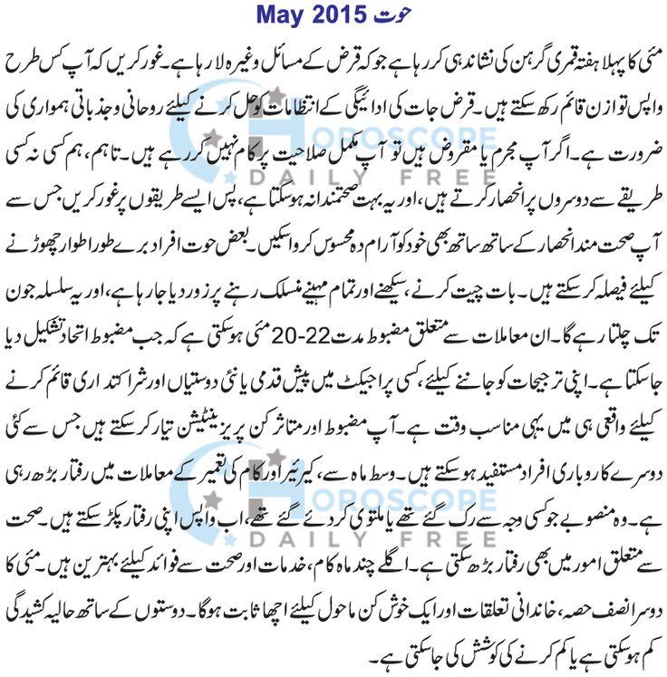 Pisces Monthly Horoscope in Urdu May 2015