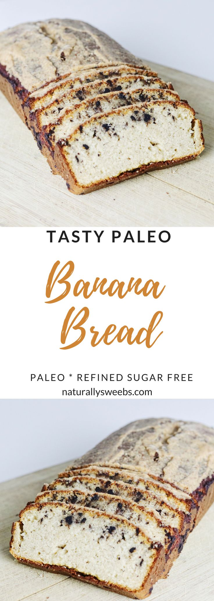 Healthy paleo banana bread! Made with almond flour and dark chocolate. #healthy #bananabread #paleo #cleaneating
