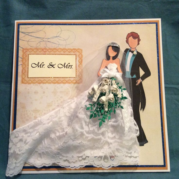 Wedding card for my daughter. Prima dolls stamp for the bride, C thru the woods stamp for the groom.