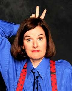 Paula Poundstone (born December 29, 1959) is an American stand-up comedian.  Poundstone was born in Huntsville, Alabama, and her family moved to Sudbury, Massachusetts.[1] Poundstone attended Lincoln-Sudbury Regional High School, but dropped out to pursue a show business career. Her jobs have included busing tables and working as a bicycle messenger.