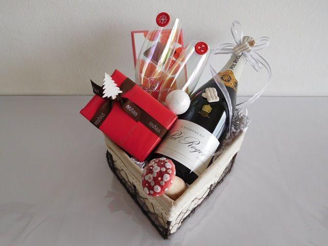 Création panier cadeau fêtes de Noël: Champagne Pol Roger Brut - Pralines Neuhaus chocolatier belge - livraison en 24 heures