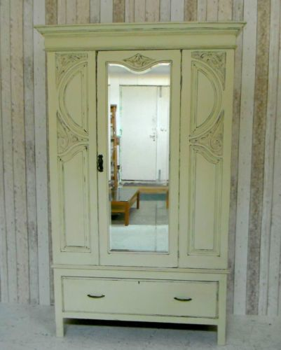 Victorian Shabby Chic Vintage Mirrored Wardrobe Armoire Drawers Antique  Cream