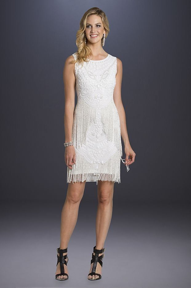 Beaded Fringe Short Wedding Dress