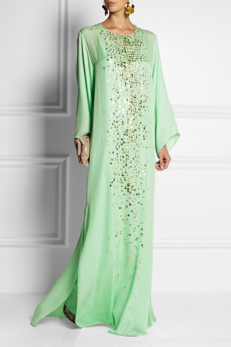 Oscar de la Renta|Sequined silk maxi kaftan|Obsessed with these! Old Hollywood glamour!