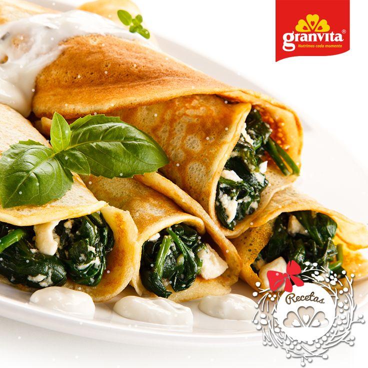#Receta: Crepas de Hojuelas de Avena Granvita con espinacas y queso. 🌿 Es hora de consentirte.