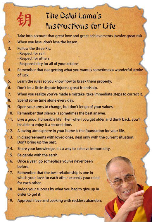 The Dalai Lama's instructions for life