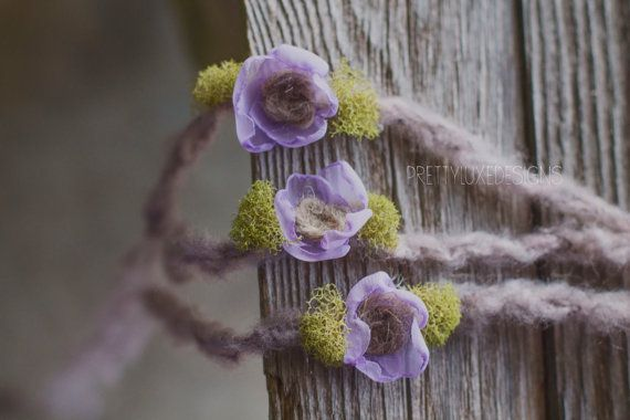 Purple newborn flower headband by PrettyLuxeDesigns on Etsy, $13.00