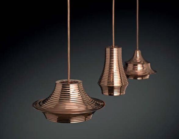 Tibeta is a family of pendant lights made of a spun aluminum body it is