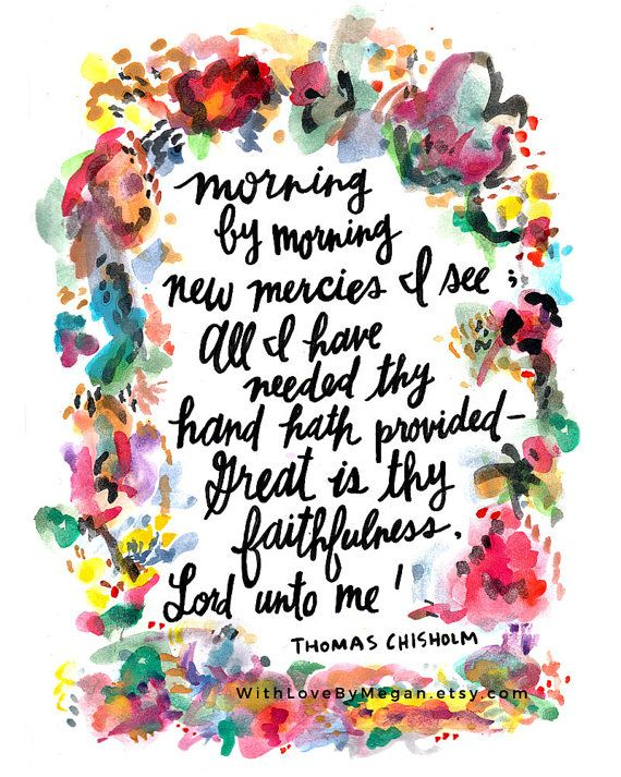 Great is thy Faithfulness Watercolor Hymn by WithLoveByMegan