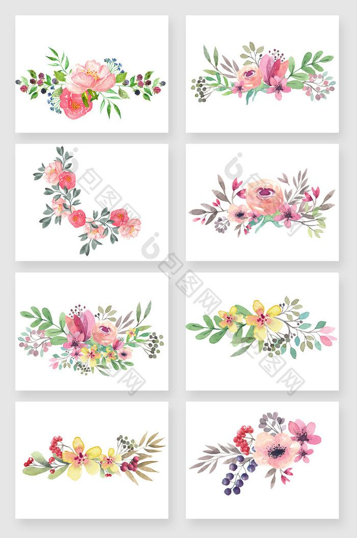 Hand Painted Watercolor Beautiful Flower Vector In 2020 Free
